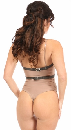 Grey Suede Vegan Leather Halter Body Harness