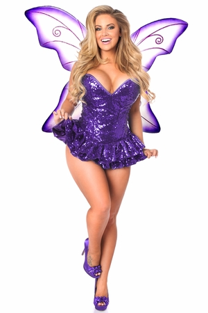 Top Drawer Premium Sequin Purple Fairy Corset Dress Costume