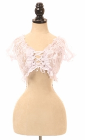 White Sheer Lace-Up Peasant Top - IN STOCK