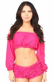 Fuchsia Long Sleeve Peasant Top - IN STOCK