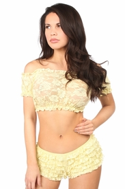 Yellow Sheer Lace Short Sleeve Peasant Top - IN STOCK