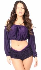 Plum Long Sleeve Peasant Top - IN STOCK