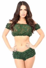 Dark Green Sheer Lace Short Sleeve Peasant Top - IN STOCK