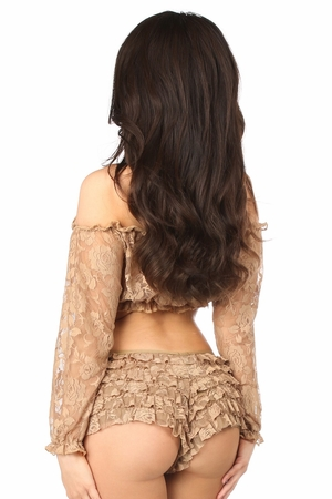 Beige Sheer Lace Long Sleeve Peasant Top - IN STOCK