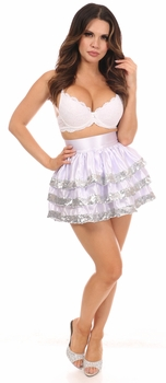 White/Silver Sequin 3 Layer Skirt - IN STOCK