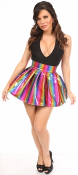 Rainbow Glitter PVC Pleated Skirt