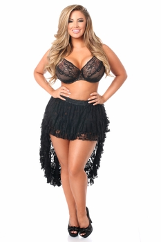 Plus Size Black High Low Lace Skirt - IN STOCK