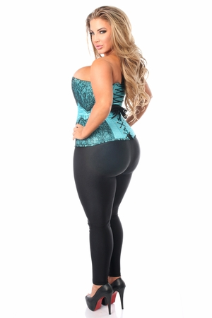 Top Drawer Teal Brocade Steel Boned Corset w/Black Eyelash Lace - IN STOCK