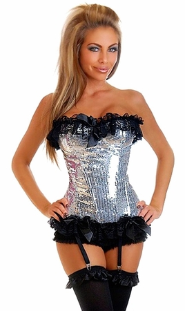 Silver Sequin Pin-Up Burlesque Corset