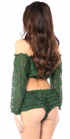 Dark Green Sheer Lace Long Sleeve Peasant Top - IN STOCK