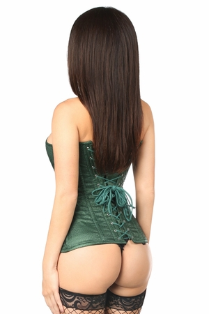 Top Drawer Dark Green Brocade Steel Boned Corset - ON SALE