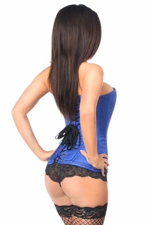 Lavish Royal Blue Brocade Overbust Corset - IN STOCK