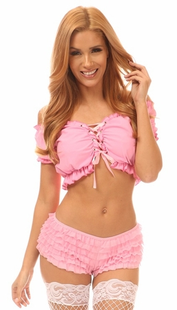 Pink Lycra Lace-Up Peasant Top - IN STOCK