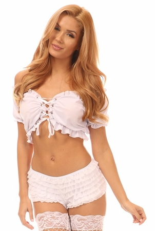 White Lycra Lace-Up Peasant Top - IN STOCK