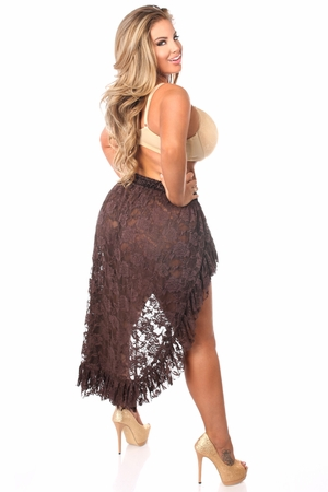 Dark Brown Lace High Low Skirt - IN STOCK