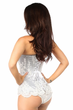 Top Drawer Elegant Silver Embroidered Steel Boned Corset