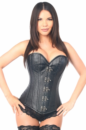 Top Drawer Black Faux Leather Steel Boned Corset w/Clasps - ON SALE