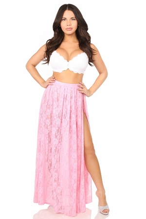 Sheer Pink Lace Skirt - IN STOCK