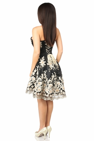 Top Drawer Elegant Black Floral Embroidered Steel Boned Corset Dress