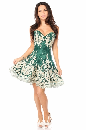 Top Drawer Elegant Dark Green Floral Embroidered Steel Boned Corset Dress