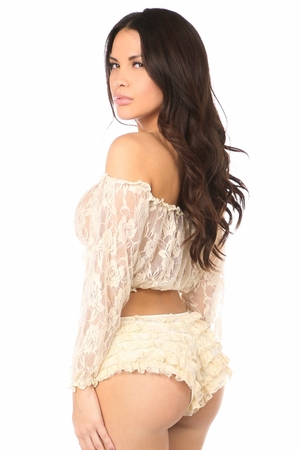 Cream Sheer Lace Long Sleeve Peasant Top - IN STOCK
