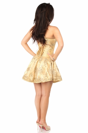 Top Drawer Elegant Gold Embroidered Net Steel Boned Short Corset Dress