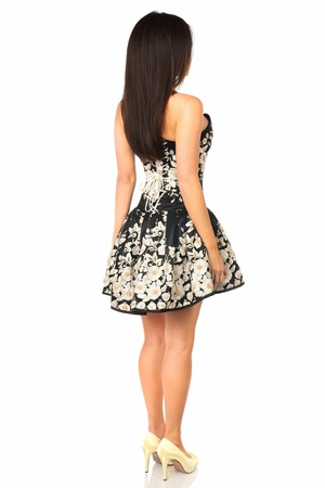 Top Drawer Elegant Black Floral Embroidered Steel Boned Short Corset Dress