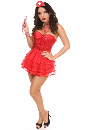 Lavish 4 PC Sexy Nurse Corset Costume