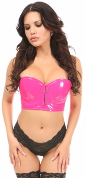 Lavish Hot Pink Patent PVC Underwire Short Bustier - IN STOCK