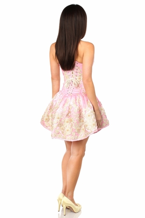 Top Drawer Elegant Pink Floral Embroidered Steel Boned Short Corset Dress