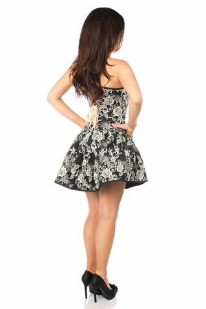 Top Drawer Elegant Floral Embroidered Steel Boned Short Corset Dress