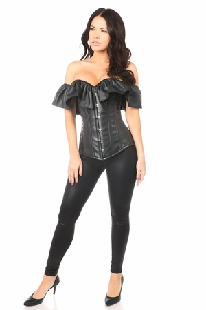 Top Drawer Faux Leather Steel Boned Off-The-Shoulder Corset
