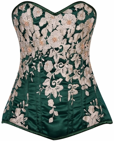 Top Drawer Elegant Dark Green Floral Embroidered Steel Boned Corset