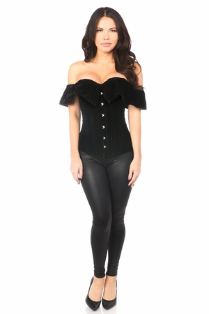 Top Drawer Black Velvet Off-The-Shoulder Steel Boned Corset - IN STOCK