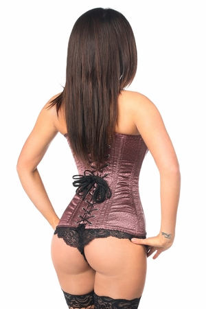 Top Drawer Two-Tone Pink Brocade Steel Boned Overbust Corset - IN STOCK