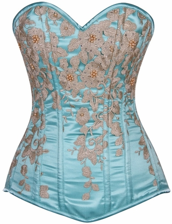Top Drawer Elegant Aqua Floral Embroidered Steel Boned Corset