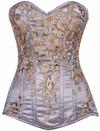 Top Drawer Elegant Lt Blue Floral Embroidered Steel Boned Corset