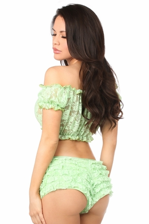 Lt Green Sheer Lace Short Sleeve Peasant Top - IN STOCK
