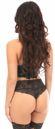 Lavish Black Patent PVC Underwire Short Bustier - IN STOCK