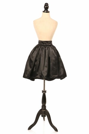 Black Satin Short Skirt