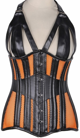 Top Drawer Faux Leather & Fishnet Steel Boned Halter Top Corset