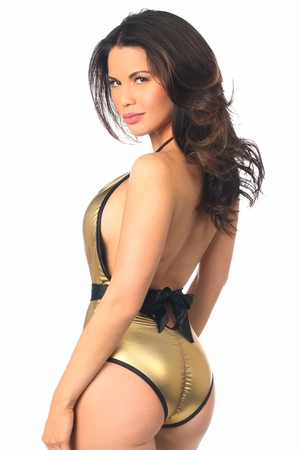 Metallic Gold One-Piece Pucker Back Swimsuit w/Removable Belt