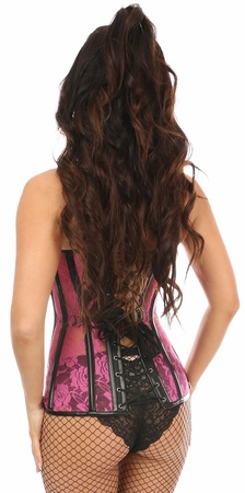 Lavish Neon Pink Sheer Lace & Faux Leather Overbust Corset