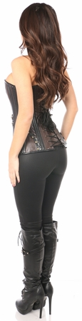 Top Drawer Faux Leather Steel Boned Corset w/Rivets - IN STOCK