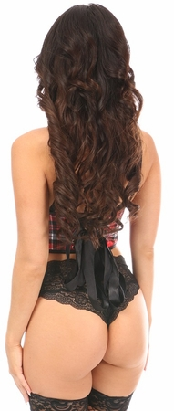 Lavish Red Plaid Underwire Short Bustier