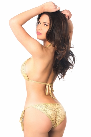 Gold Sequin Tie-Side Pucker Back Bikini