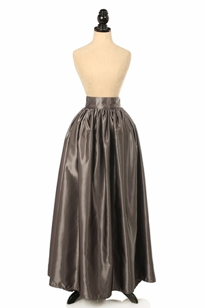 Gunmetal Satin Long Skirt