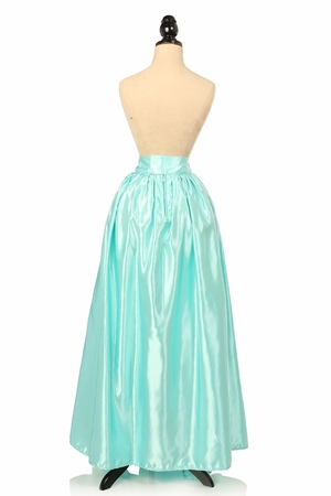 Aqua Satin Long Skirt