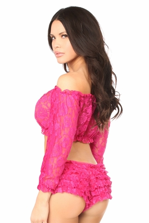 Fuchsia Sheer Lace Long Sleeve Peasant Top - IN STOCK