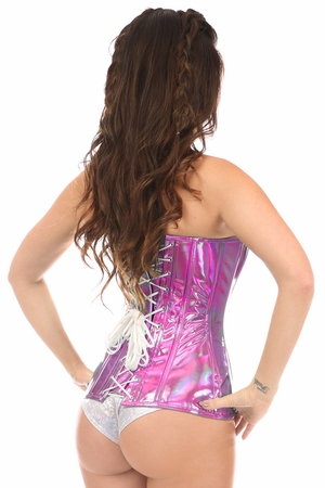 Top Drawer Fuchsia Holo Steel Boned Over Bust Corset